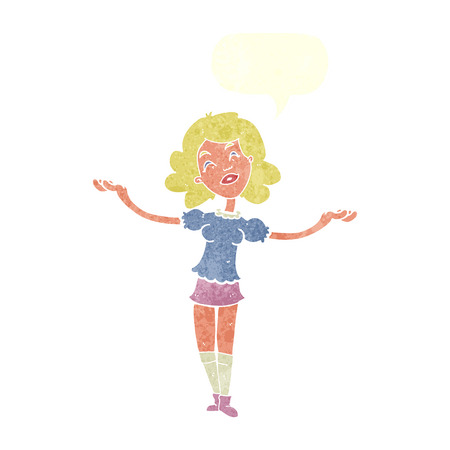 praise: cartoon woman taking praise with speech bubble