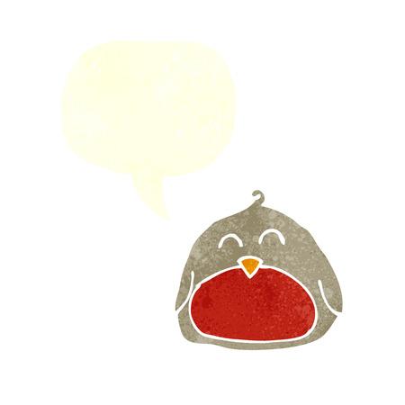 christmas robin: funny cartoon christmas robin with speech bubble