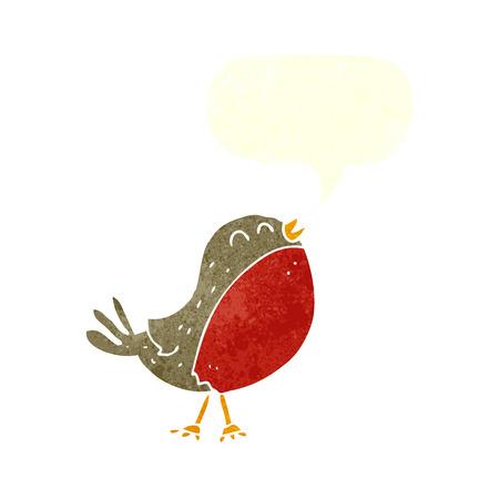 christmas robin: cartoon christmas robin with speech bubble