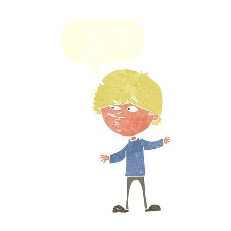 curious: cartoon curious man with speech bubble Illustration