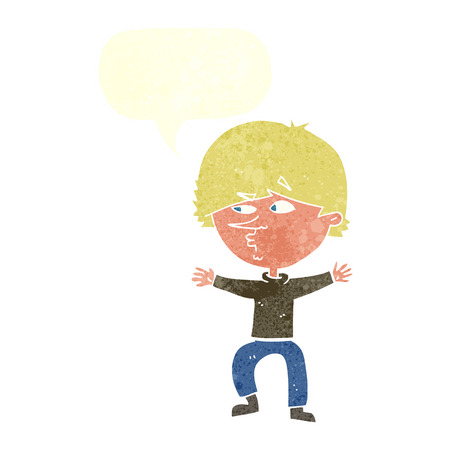 suspicious: cartoon suspicious man with speech bubble Illustration