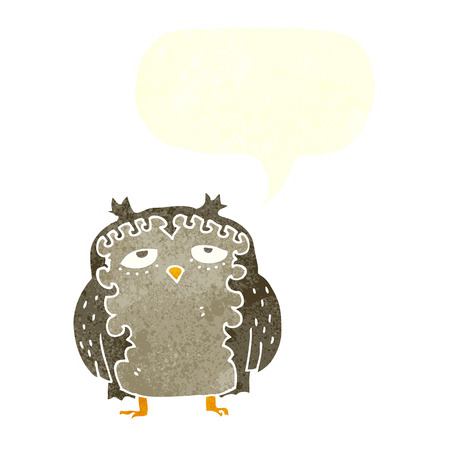 wise old owl: cartoon wise old owl with speech bubble