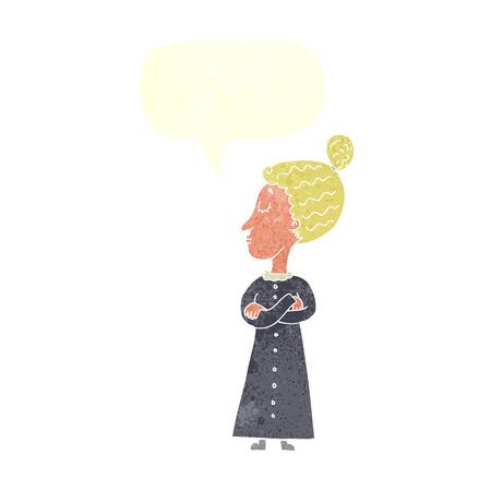 stern: cartoon strict victorian teacher with speech bubble