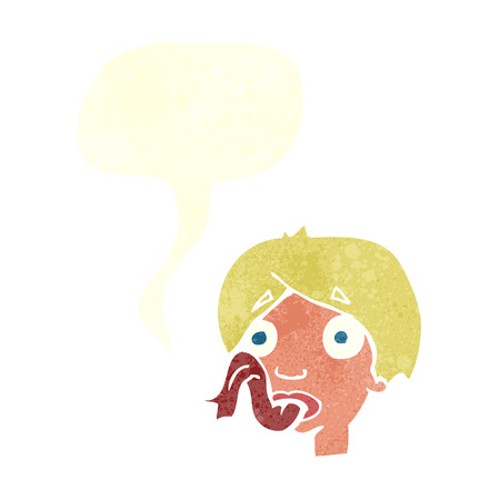 sticking: cartoon head sticking out tongue with speech bubble