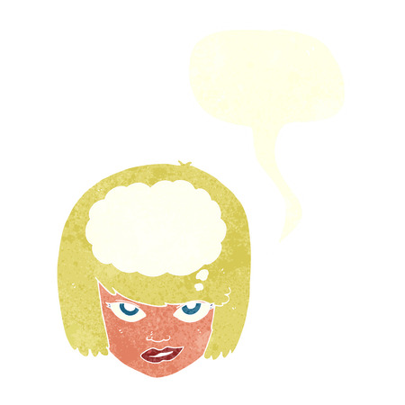 imagining: cartoon woman thinking with speech bubble