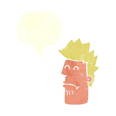 cartoon man zieken met tekstballon gevoel