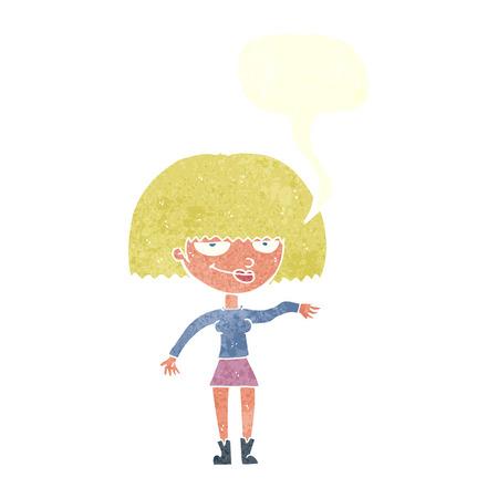 dismissive: cartoon smug woman making dismissive gesture with speech bubble