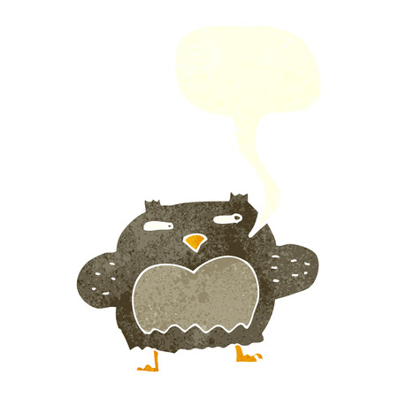 suspicious: cartoon suspicious owl with speech bubble Illustration