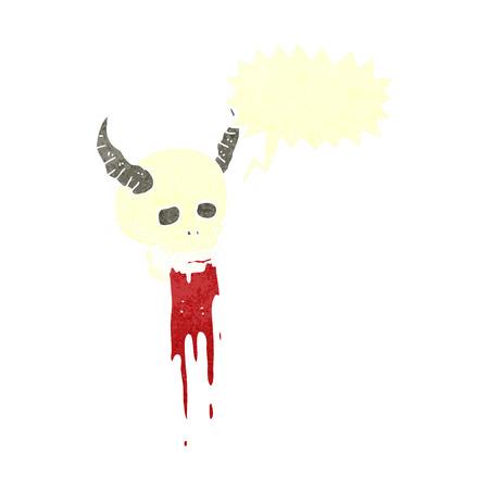 cartoon spooky halloween skull with speech bubble Vector