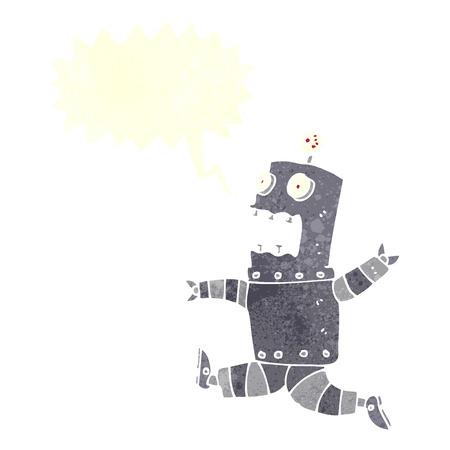 talking robot: cartoon terrified robot with speech bubble