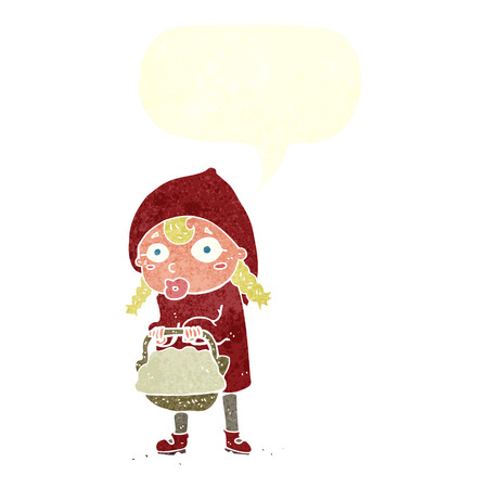 cartoon little red riding hood: little red riding hood cartoon with speech bubble