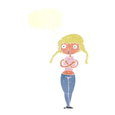 охватывающей: cartoon offended woman covering herself with speech bubble