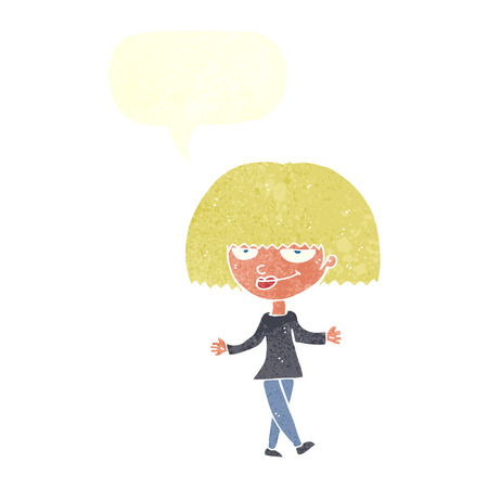 smug: cartoon smug looking woman with speech bubble Illustration