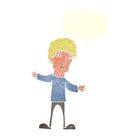 worried: cartoon worried man with speech bubble