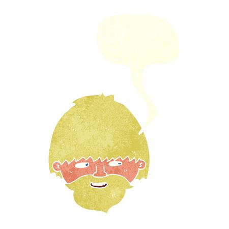 bearded man: cartoon bearded man with speech bubble Illustration