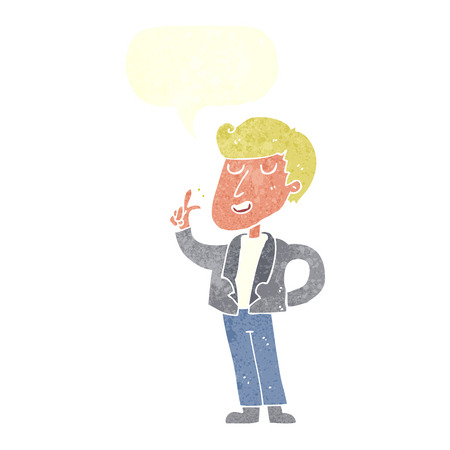 snapping fingers: cartoon cool guy snapping fingers with speech bubble Illustration
