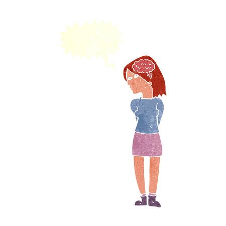brainy: cartoon brainy woman with speech bubble Illustration