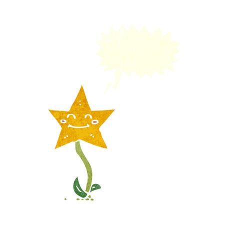 estrella caricatura: flor de la estrella de la historieta con la burbuja del discurso