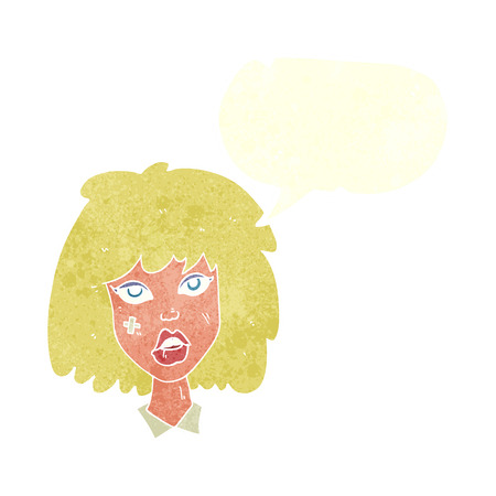 bruised: cartoon woman with bruised face with speech bubble Illustration