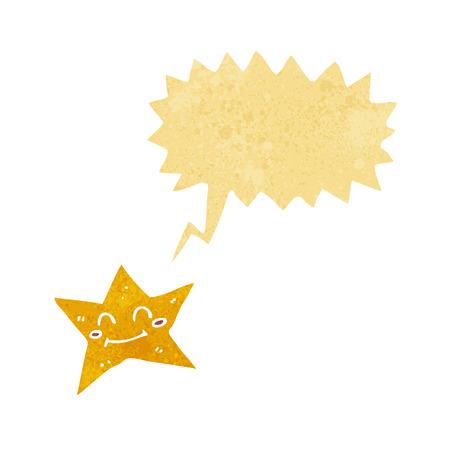estrella caricatura: personaje de dibujos animados estrella con bocadillo Vectores
