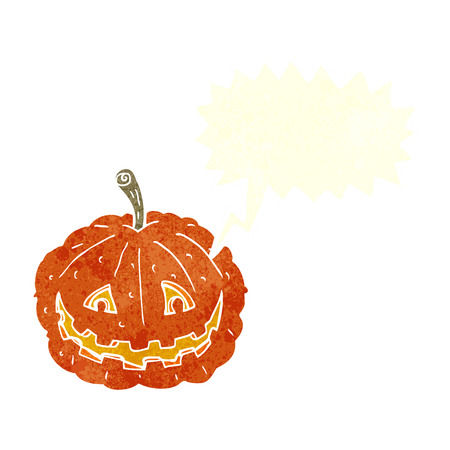 smilling: cartoon grinning pumpkin with speech bubble Illustration