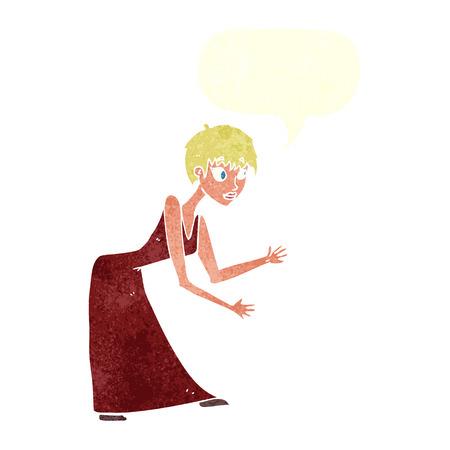 cartoon woman in dress gesturing with speech bubble Vector