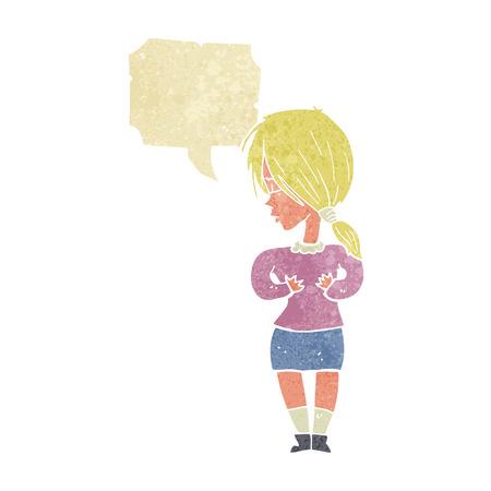 shy woman: cartoon shy woman with speech bubble Illustration
