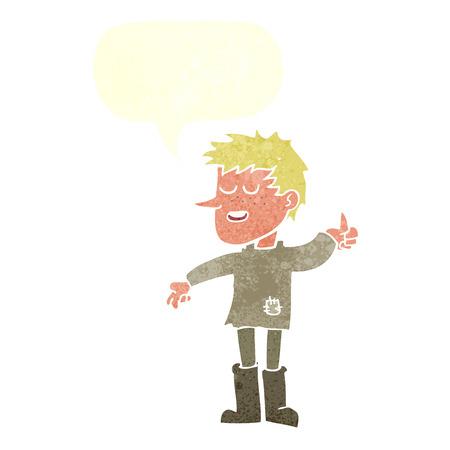 actitud positiva: dibujos animados pobre muchacho con actitud positiva con bocadillo Vectores