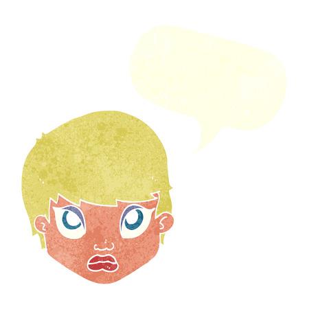 sulking: cartoon sulking woman with speech bubble Illustration