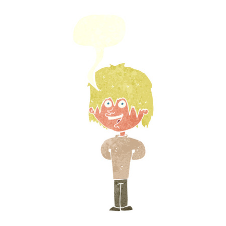 scruffy: cartoon happy scruffy boy with speech bubble Illustration