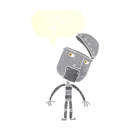 talking robot: cartoon robot with speech bubble