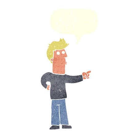 meraklı: cartoon curious man pointing with speech bubble