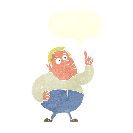 asking question: cartoon man asking question with speech bubble Illustration