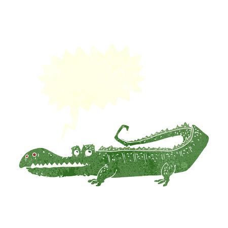 cartoon crocodile with speech bubble Vector