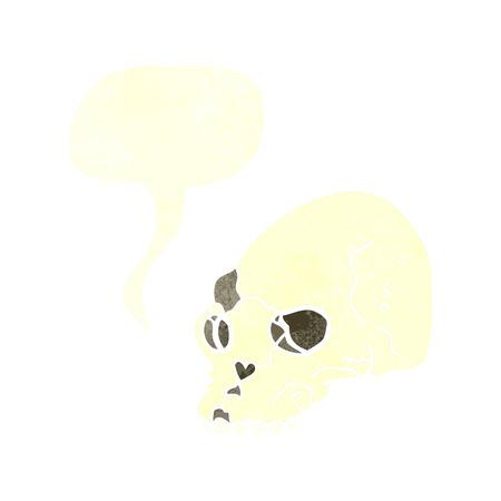 cartoon spooky skull with speech bubble Vector