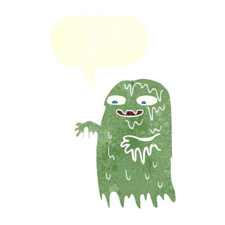 slime: cartoon gross slime ghost with speech bubble