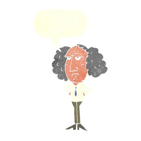 lecturer: cartoon big hair lecturer man with speech bubble Illustration