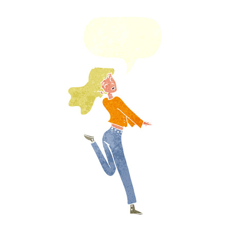 kick out: cartoon happy girl kicking out leg with speech bubble