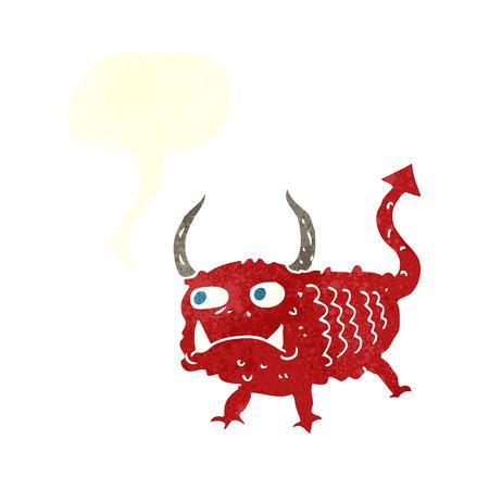 imp: cartoon little demon with speech bubble