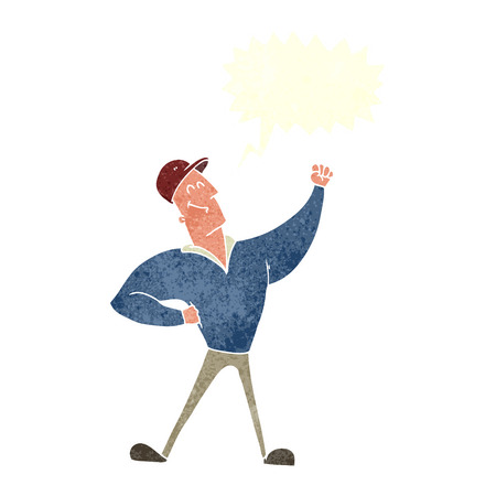 heroic: cartoon man striking heroic pose with speech bubble Illustration