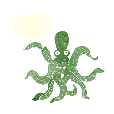 rough sea: cartoon giant octopus with speech bubble Illustration