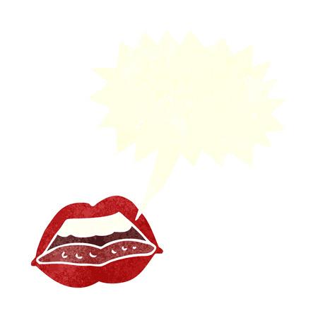 cartoon sexy lips symbol with speech bubble Vector