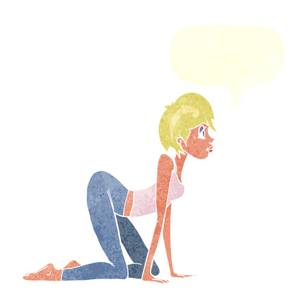 on all fours: cartoon sexy woman on all fours with speech bubble
