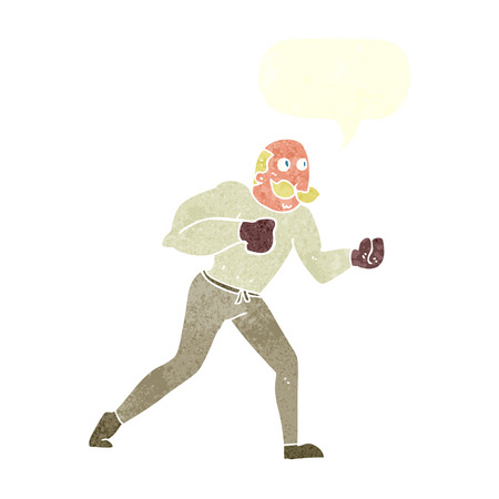 cartoon retro boxer man with speech bubble Vector
