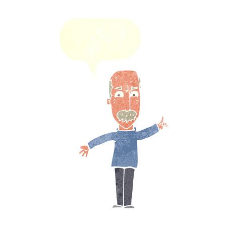 stern: cartoon man issuing stern warning with speech bubble Illustration