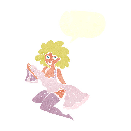 changing: cartoon woman changing with speech bubble Illustration