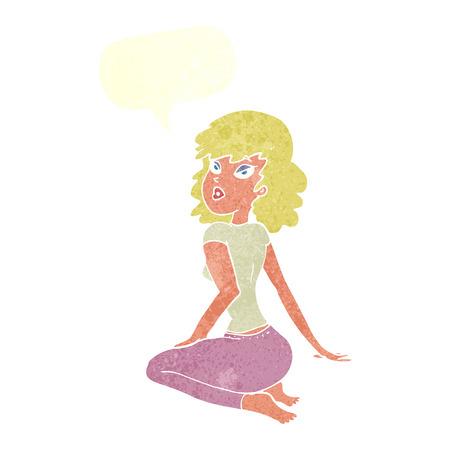 pout: cartoon pretty woman with speech bubble Illustration