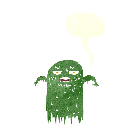 slimy: cartoon slimy ghost with speech bubble