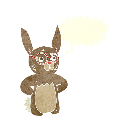 cartoon rabbit wearing spectacles with speech bubble Vector