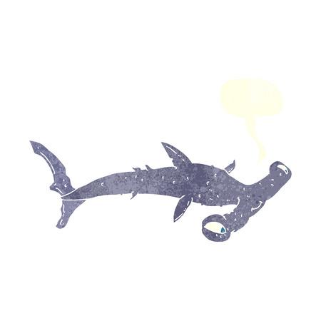 hammerhead: cartone animato squalo martello con fumetto Vettoriali